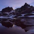 The moon rises over Broken Top- Broken Top Crater Hike