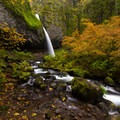 Ponytail (Upper Horsetail) Falls in a vibrant autumn- Horsetail, Ponytail + Triple Falls Hike