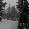 The lodge during heavy snowfall- Timberline Lodge