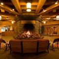 The welcoming fireplace in the lobby- Timberline Lodge