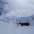 The impressive ice seracs on the edge of the Coleman Glacier below Colfax Peak- Mount Baker via Coleman Glacier
