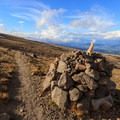 A bulky cairn between Gnarl Ridge and Cooper Spur- Timberline Trail
