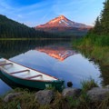 Alpenglow on Mt Hood above a still reflection- Trillium Lake