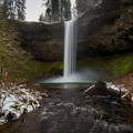 South Falls at high flow after an early spring snowstorm.- Silver Falls, Trail of 10 Falls