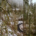 Spring snow view above the stairs descending to Lower South Falls.- Silver Falls, Trail of 10 Falls