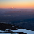 Mt Hood to the south at sunrise as seen from the lunch counter- Mount Adams: South Climb