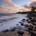 Sunrise and high tide over an empty beach- Ho'okipa (H-Poko) Beach Park + Overlook