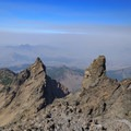 Smoky view to the northwest from the summit- Three Fingered Jack