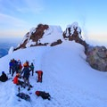 Climbers awaiting their turn at Hot Rocks- Mount Hood South Route: Pearly Gates