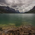 Long exposure of thick clouds over St Mary Lake- Going-to-the-Sun Road