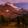 Vibrant afterglow on Mt Jefferson from along the PCT- Jefferson Park via Whitewater Creek Trail