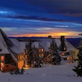 Last light from a winter sunset- Timberline Lodge