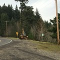 Backhoe planting trees at where I guess the trail head would start- Spirit Falls Hike