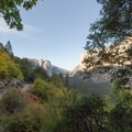 Deciduous trees along the trail with El Cap and Cathedral Rocks in the distance- Four Mile Trail to Glacier Point