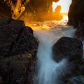 One of the two caves sometimes accessible at this beach- Pfeiffer Beach