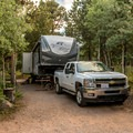 Site #8 in Olive Ridge. Our 34-foot trailer barely fit.- Olive Ridge Campground