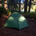 Primitive campsite along Tumble Lake.- Dome Rock + Tumble Lake Hike