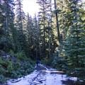 Minimal slushy snow on the trail- Barlow Butte Hut