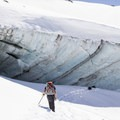 Approaching the entrance to the Snow Dragon- Mount Hood: Sandy Glacier Ice Caves