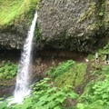 Ponytail falls, with the trail winding underneath- Horsetail, Ponytail + Triple Falls Hike