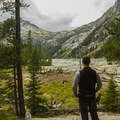 Taking in the view at Upper Snow Lake- Enchantment Lakes Hike via Snow Lakes