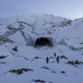 The team walking up to the entrance to Pure Imagination- Mount Hood: Sandy Glacier Ice Caves