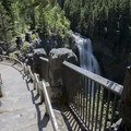 Looking down the steps of the upper viewpoint, with the falls cascading beyond- Salt Creek Falls