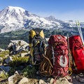 Backpacks full of alpine gear in the Tatoosh Range within Mt Rainier National Park- Pinnacle Peak + The Castle