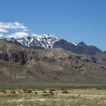 Steens Mountain looming over the desert- Alvord Hot Springs