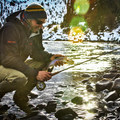 Author Derek Schroeder holds a nice winter rainbow trout from the Crooked River in Central Oregon.- Cold Fish and Cold Feet — Winter on the Crooked River