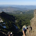 Mount Jefferson Wilderness: Climbers ascending Three Fingered Jack.- National Wilderness Preservation System