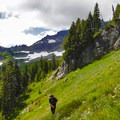 Side-hill approach through wildflowers on the sides of Stevens Peak.- Embracing the Struggle
