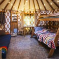 Standard state park yurt after the all important glamping interior decorating.- Glamp Vibes
