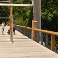Suspension footbridge at the Tillamook Forestry Center.- Summer Along the Wilson River