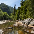 South Fork of the Snoqualmie River swimming hole at Olallie State Park.- Seattle's 20 Best Beaches + Swimming Holes