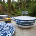 Classy but durable outdoor place settings make all the difference.- Glamp Vibes