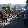 The Summer Solstice Block Party with the Portland skyline.- Summer Solstice Block Party - A Recap