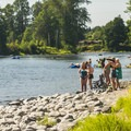 Sun bathers at Plum Boat Launch on the Snoqualmie River.- Seattle's 20 Best Beaches + Swimming Holes