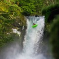 Columbia River Gorge National Scenic Area: Kayaker drops Spirit Falls on the Little White Salmon River.- National Scenic Areas