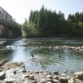 Playing in the swimming hole at Big Eddy Park on the Skykomish River.- Seattle's 20 Best Beaches + Swimming Holes
