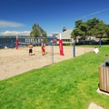 Sand volleyball courts at Houghton Beach Park.- Seattle's 20 Best Beaches + Swimming Holes