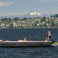 Lake Washington with Northeast Seattle and the Olympic Mountains (The Brothers, 6,842') in the background, as seen from Houghton Beach Park.- Seattle's 20 Best Beaches + Swimming Holes
