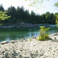 Sandy beach at Big Eddy Park on the Skykomish River.- Seattle's 20 Best Beaches + Swimming Holes