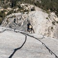 "After the Half Dome cables have been ""taken down,"" they simply lie on the rock.- Climbing Half Dome In The Shoulder Season"