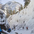 Crowds climbing in the canyon.- Brochures to Hashtags: Ice Climbing with San Juan Mountain Guides