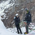 Learning to rappell down ice.- Brochures to Hashtags: Ice Climbing with San Juan Mountain Guides