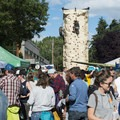 The Prana climbing wall used all day long at the 2016 Summer Solstice Block Party.- 2016 Summer Solstice Block Party Recap