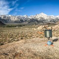 A small, lightweight backpacker's stove easily packs inside the GSI Outdoors Pinnacle Dualist Cookset's pot and bowls. (Stove not included in the set.)- Gear Review: GSI Pinnacle Dualist Cookset