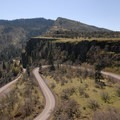 Basalt cliffs at Tom McCall Preserve and Point on the eastern edge of the Columbia River Gorge.- Missoula Floods
