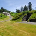 Fort Columbia: View looking up toward the barracks and battery.- Columbia River Harbor Defense System